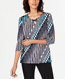 JM Collection Petite Printed Grommet Top, Created for Macy's