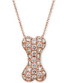 "Nude Diamond Dog Bone 20"" Pendant Necklace (1 ct. t.w.) in 14k Rose Gold"