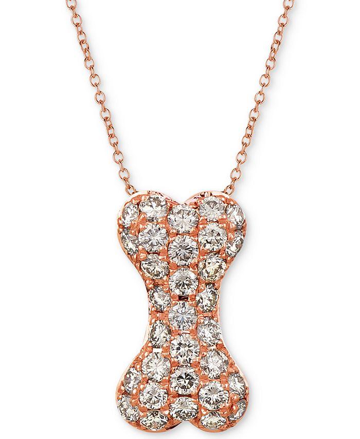 "Le Vian - Nude Diamond Dog Bone 20"" Pendant Necklace (1 ct. t.w.) in 14k Rose Gold"