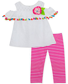 Rare Editions Baby Girls 2-Pc. Cold-Shoulder Top & Leggings Set