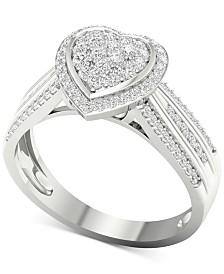 Diamond Heart Ring (1/2 ct. t.w.) in Sterling Silver
