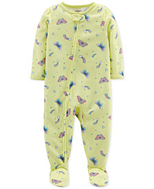 Carter's Baby Girls Butterfly-Print Footed Pajamas
