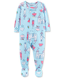 Carter's Baby Girls Castle-Print Footed Pajamas