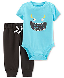 Carter's Baby Boys 2-Pc. Monster-Print Cotton Bodysuit & Pants Set