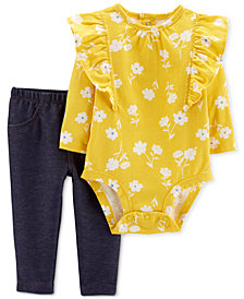 Carter's Baby Girls 2-Pc. Floral-Print Cotton Bodysuit & Leggings Set