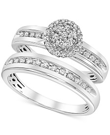 Diamond Cluster Bridal Set (1/3 ct. t.w.) in 14k White Gold