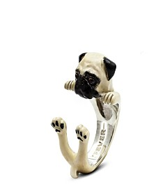 Pug Hug Ring in Sterling Silver and Enamel