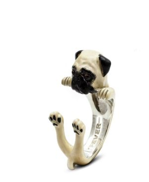 DOG FEVER Pug Hug Ring In Sterling Silver And Enamel in White