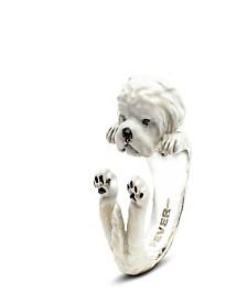 Maltese Hug Ring in Sterling Silver and Enamel