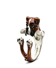 Boxer Hug Ring in Sterling Silver and Enamel