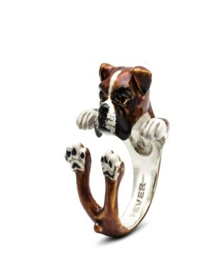 DOG FEVER Boxer Hug Ring In Sterling Silver And Enamel in Brown