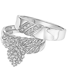 Diamond Bridal Set Trio Collection for Men and Women in 14k White Gold