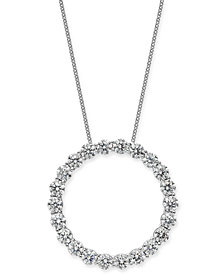"Diamond Circle Pendant Necklace (4 ct. t.w.) in 14k White Gold, 16"" + 2"" extender"