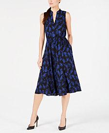 Anne Klein Sleeveless Printed Drawstring Dress