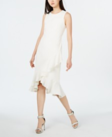 Calvin Klein Sleeveless Ruffled Wrap-Hem Dress