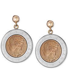 Lire-Look Coin Drop Earrings in Sterling Silver & 14k Gold Vermeil