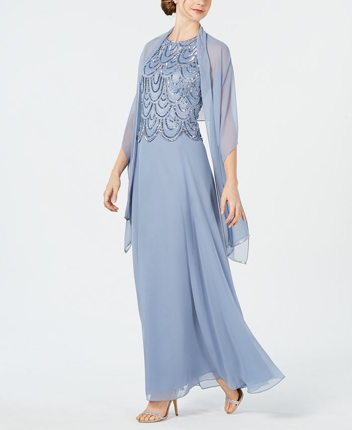 J Kara - Embellished A-Line Gown And Scarf
