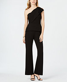Adrianna Papell Petite One-Shoulder Peplum Jumpsuit