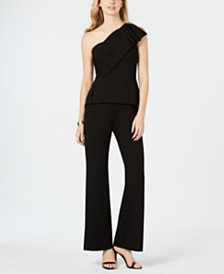 Adrianna Papell One-Shoulder Peplum Jumpsuit