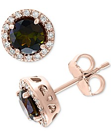 EFFY® Green Tourmaline (1-1/10 ct. t.w.) & Diamond (1/8 ct. t.w.) Stud Earrings in 14k Rose Gold