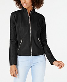 Quilted Faux-Leather Moto Jacket