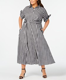 Calvin Klein Plus Size Gingham Midi Shirtdress
