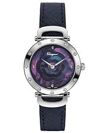 Ferragamo Women's Swiss Ferragamo Style Diamond-Accent Purple Leather Strap Watch 34mm
