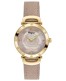 Ferragamo Women's Swiss Ferragamo Style Nude Leather Strap Watch 34mm