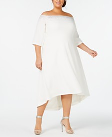 Calvin Klein Plus Size Off-The-Shoulder High-Low Gown
