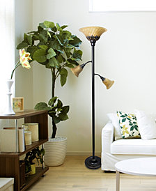 Elegant Designs 2 Light Mother Daughter Floor Lamp with White Marble Glass