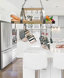 Elegant Designs 2 Light Kitchen Wood Pot Rack with Downlights