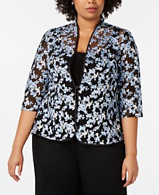 Alex Evenings Plus Size Floral Embroidered Jacket & Shell