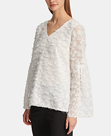 DKNY Feathered-Finish Bell-Sleeve Top, Created for Macy's