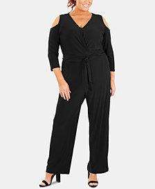 NY Collection Plus Size Cold-Shoulder Jumpsuit