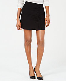1.STATE Ruched-Front Mini Skirt