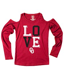 Oklahoma Sooners Cold Shoulder Long Sleeve T-Shirt, Girls (8-16)