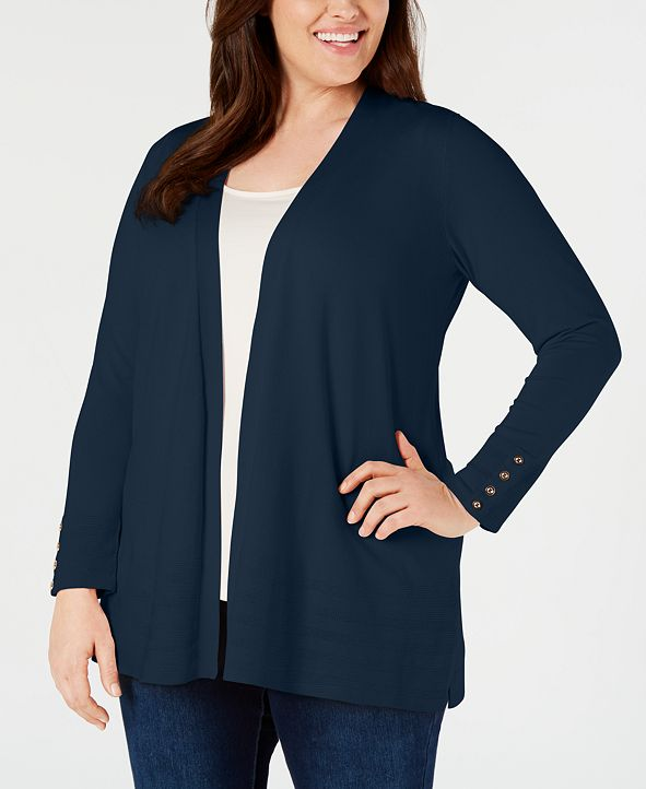Charter Club Plus Size Pointelle-Trim Completer Cardigan, Created for Macy's