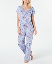 7b90619ddb57 Charter Club Lace Trim Printed Soft Knit Pajama Set