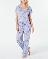 6ac754e71c48b Charter Club Lace Trim Printed Soft Knit Pajama Set