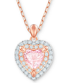 "Swarovski Two-Tone Crystal Heart 14-7/8"" Pendant Necklace"