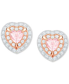 Two-Tone Crystal Heart Stud Earrings