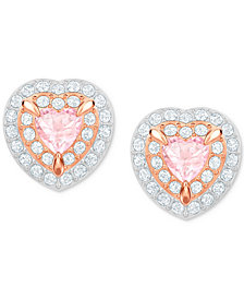Swarovski Two-Tone Crystal Heart Stud Earrings