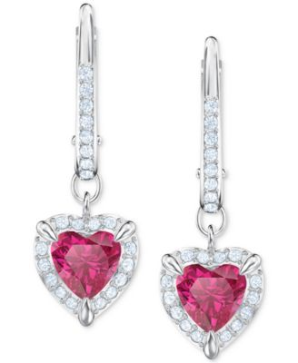 Heart Shaped Cubic Zirconia Crystal Dangle Hoop Earrings