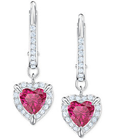 Swarovski Silver-Tone Crystal Heart Drop Earrings