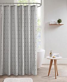 "Urban Habitat Brooklyn 70"" x 72"" Cotton Pom Pom Shower Curtain"