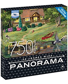 Premium Blue Board Panorama Jigsaw Puzzle - Joseph Burgess - Cabin on the Lake- 750 Pieces