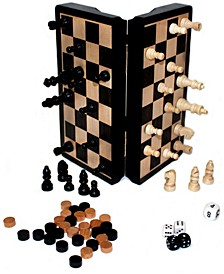 """Classic Game Collection - 8"""" Magnetic Dark Wood 3 in 1 Game Set"""