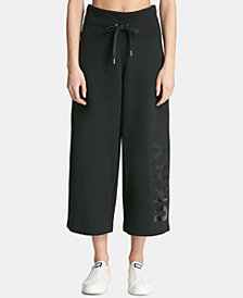 DKNY Sport High-Rise Logo Cropped Wide-Leg Pants, Created for Macy's