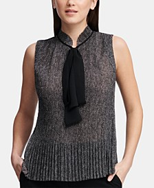 Pleated Tie-Neck Top