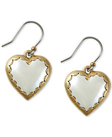 Lucky Brand Gold-Tone Stone Heart Drop Earrings